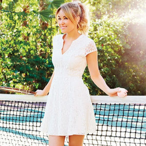 LC Lauren Conrad Cream Lace Fit & Flare Dress - 6